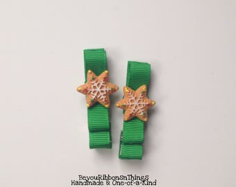 Christmas Cookies | Hair Clips for Girls | Toddler Barrette | Kids Hair Accessories | Christmas Green Ribbon | Flatback | No Slip Grip