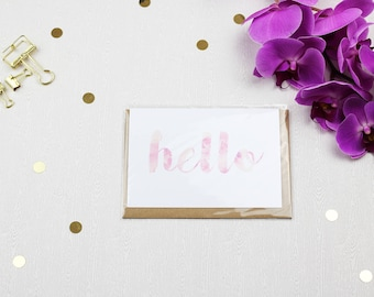 Floral Hello Greeting Card with Envelope