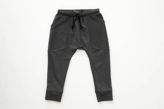 MOUFLON - plain pant like harem, low crotch, pockets - charcoal