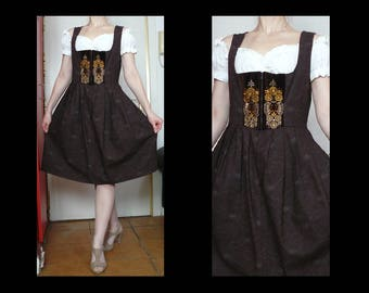 Vintage 60s - 70s chocolate brown paisley dirndl with embroidered bodice - traditional Austrian Tyrol dress / Oktoberfest costume - size L