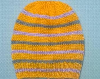 Hand Knit Toddler/Child Hat ~ 1-12 Years ~ Orange, Purple and Gray