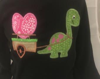 Dinosaur Pulling Cart with Heart, Valentine Shirt