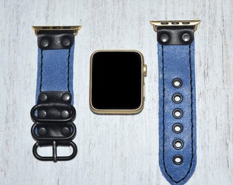 Blue Apple watch strap leather // apple watch band 42mm leather - iwatch strap - iwatch band 38mm - lugs adapter accessories for women