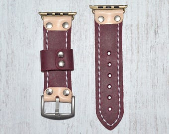 Purple Genuine leather apple watch band 42mm / 38mm // apple watch strap leather - iwatch band leather accessories - iwatch strap adapter