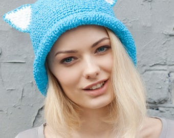 Summer | Cat | Hat | Crochet | Raffia | Blue