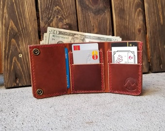 Leather Trifold Wallet - Men's Leather Wallet - Handmade - Colorado - Made To Order - Free Shipping - Brown - Black - Tan - Horween Leather