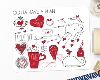 Planner Stickers Valentines Day Deco for Erin Condren, Happy Planner, Filofax, Scrapbooking