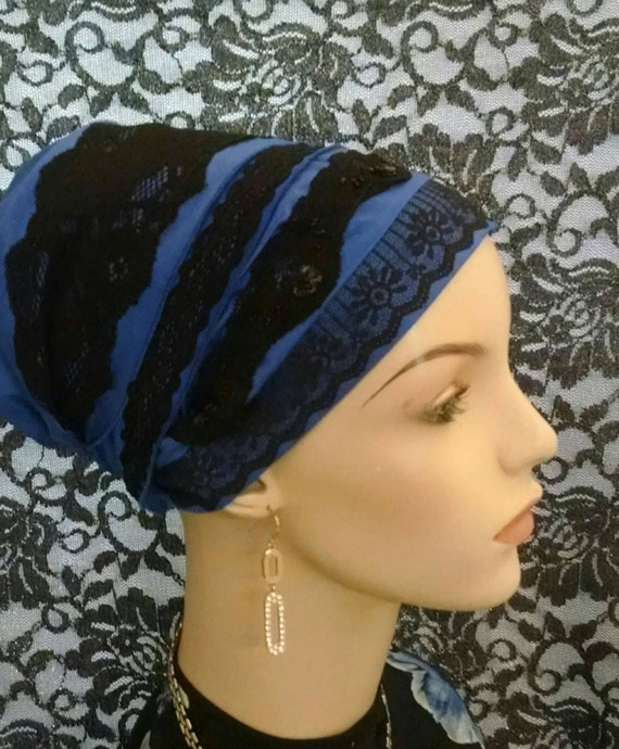 Updated royal blue and lace sinar tichel, tichel, apron tichel, head scarf, head wrap, chemo scarf, hair snood