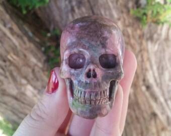 """Rhodonite Hyper-Realisitc Skull #2 ~2"""" Master Carved ~ Reiki ~ Emotional Healer~Grounds Energy~Yin-Yang~Calming~Heart Chakra~Heart Healer"""