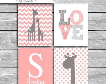 Custom Name Nursery Art - Coordinates Peanut Shell Uptown Giraffe Crib Bedding Set Of FOUR 5x7 or 8x10s I'll Like You Forever - Coral Gray