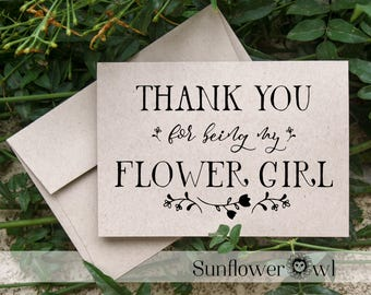 Thank you for being my Flower Girl, wedding thank yous greeting card, flower girl gift rustic wedding, recycled wedding