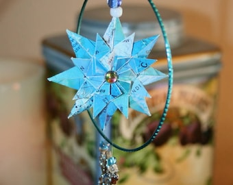 Origami Blue Ocean Map Paper Ring Hanging Ornament