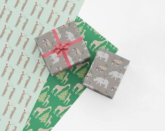 Safari Animals Christmas Wrapping Paper Set - Sheets of Holiday Gift Wrap with Rhinoceros, Oryx, Giraffes and Meerkats - Free Shipping