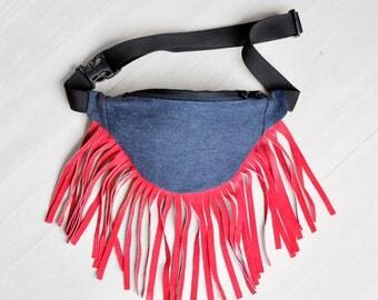 Navy jeans Red Fringe fanny pack money belt hip bag belt bag fringe purse ,  summer bum bag, native american bag
