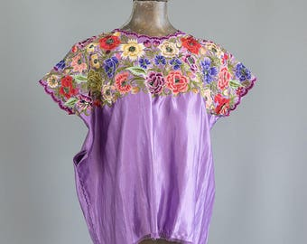 Vintage Mexican Blouse. Embroidered Mexican Huipil. Mexican Top.