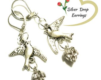 Silver Bluebird and Lotus Bud Earrings, On Trend gift, Sweetheart Gift Earrings, Pretty Dainty Earrings, Sweet Xmas Gift, Holiday Gift Guide