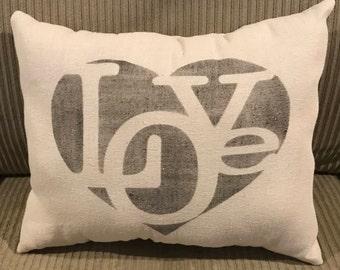 Love Grain Sack Pillow