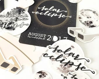 Solar Eclipse 2017 Die Cuts - Package of Eclipse, Space, Moon Sticker Die Cuts - Planner, traveler's notebook, journal, scrapbook DC04