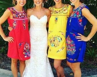 Mexican Dress - Wedding - vintage - 5 de Mayo - Embroidery dress - handmade - sleeveless dress