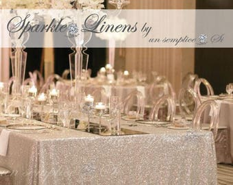 Custom Sequin Tablecloth, Sequin Runner, Sequin Overlay, Sparkle Linens FAST DELIVERY !