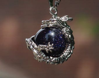 Blue Sandstone Dragon Healing Pendant on a Sterling Silver Chain ~  Sparkle Dragon Necklace ~ Healing Pendant ~ Blue Sandstone Pendant