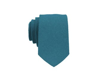 Teal Green Linen Tie.Solid Teal Green Tie for Men. Teal Wedding Tie.Teal Necktie for Men.