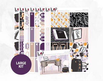 Girl Boss Large Kit | Full Boxes Checklists Functional Boxes Headers Littles Sidebar Extras Washi | Matte Glossy Planner Stickers
