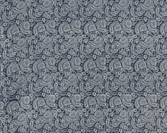 "Modern Cotton Fabric, Paisley Print, Blue Fabric, Quilt Material, Sewing Fabric, 44"" Inch Fabric By The Yard ZBC8998A"