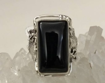 Beautiful Black Onyx Ring Size 7