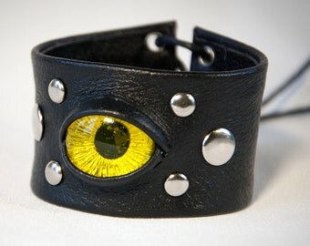 Bracelet with Eye. Fantasy Cuff Bracelet. Black and Yellow Bracelet. Leopard Eye. Dragon Eye. Yellow Eye. Black Leather Cuff Bracelet