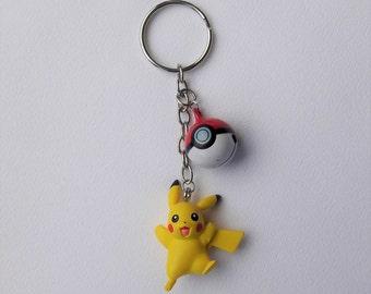 Pikachu Inspired Pokemon Pokeball Charm Keychain - Geeky Nerd Nintendo Inspired Gamer Fashion