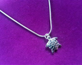 """Silver Turtle Necklace, 18"""""""