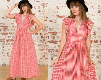 Gingham Maiden / 70s Sweetheart Maxi Dress - Size 8 -10