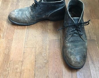 vintage addison shoe company 68500 1983/75 mens black leather scuffed steal toe ankle boots size 9 1/2 R