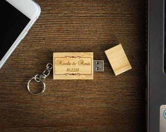 Personalized USB Drive, Custom USB Drive, Personalized Flash Drive, Custom Flash Drive, Wood Flash Drive, Personalized  --USB-Bam-nicoleamir