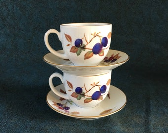 Vintage Royal Worcester Evesham Gold Trimmed Fruit Cups & Saucers, Set of 2