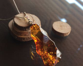 Amber Necklace, Amber and Sterling Silver Necklace