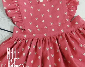 Polly Pinafore Dress Size 0 with Flutters Hearts