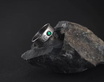 White copper DRAGON ring with seagreen glass.