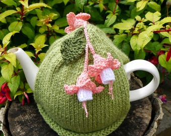 Fuchsia Flower Tea Cosy, Peach and White Crochet Flowers