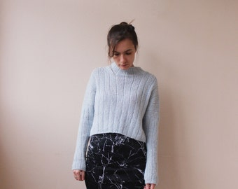 Air alpaca crop sweater | Delicate warm sweater| Bohemian sweater | Knitted soft pullover | Light blue sweater | Hand knit pullover |