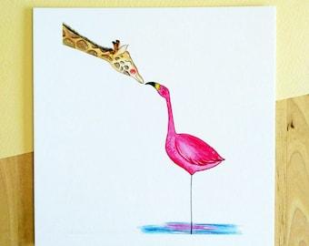 Illustration Giraffe & Flamingo