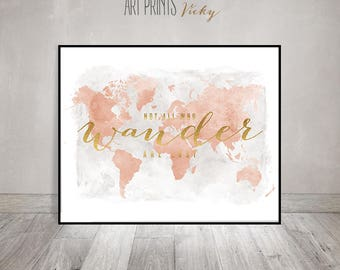 Large world map, World map art poster, print, blush, travel map, gift, not all who wander are lost, faux gold, Home Decor, ArtPrintsVicky.