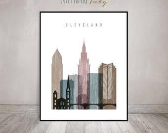 Cleveland wall art, print, distressed poster, Cleveland skyline, City print, wall decor, cityscape, gift, home decor, travel, ArtPrintsVicky