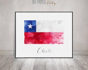 Chile flag print, Chile art poster, watercolor, travel, Wall art, watercolor flag, office decor, Home Decor, gift, Wall Decor,ArtPrintsVicky