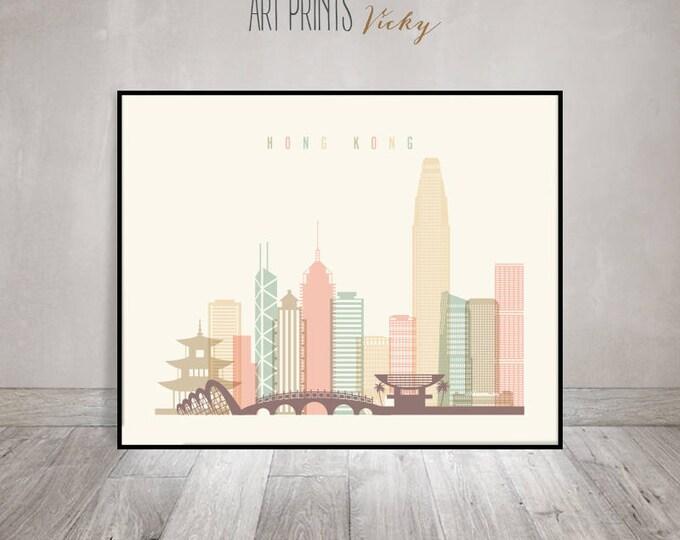 Hong Kong art print, Poster, Wall art, China, Hong Kong skyline, City prints, Travel decor, Home Decor, Digital Print, ArtPrintsVicky
