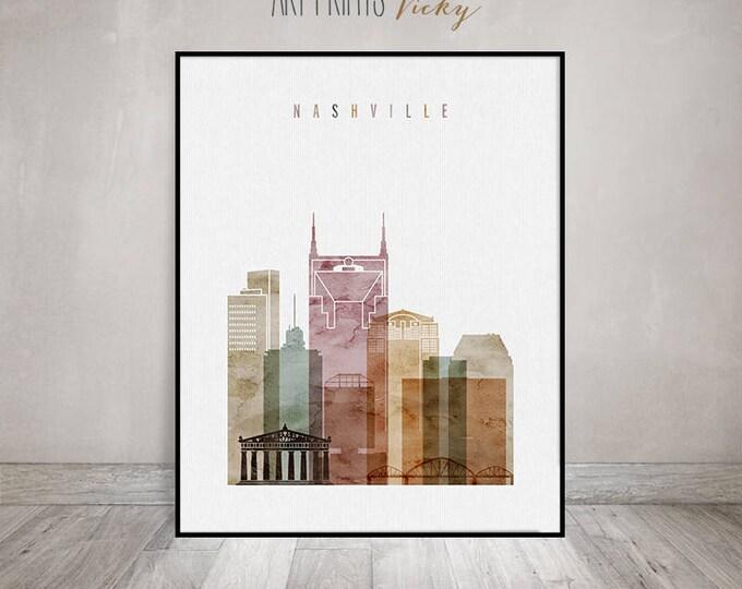 Nashville watercolor print, Poster, Wall art, Nashville skyline, Tennessee, Travel, City print, Typography art, Home Decor, ArtPrintsVicky