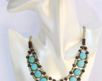 Afghan Costuming Necklace, Turquoise Beads Boho Necklace, Alpaca Necklace, Afghan Jewelry, Kuchi Necklace