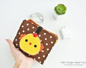 Tubby Chicky Charger & Cable Storage, Cellphone Charger Holder, USB Cable Case, Traveller Gadget Organizer, Cable Holder - Made to Order