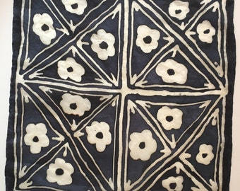 Floral tile hand painted silk handkerchief pocket square